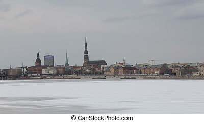 Riga city river winter