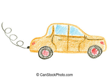Car isolated on a white background, childrens hand painted...