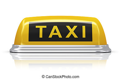 Yellow taxi car sign - Yellow taxi car roof sign isolated on...