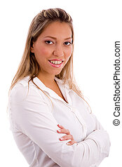 portrait of smiling businesswoman with white background