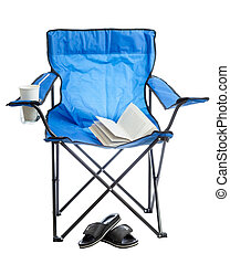Camp chair - Blue folding camp chair isolated on white...