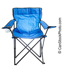 Camp chair. - Blue folding camp chair isolated on white...
