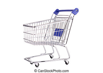 empty shopping cart on white