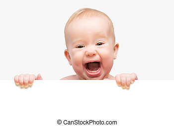 funny cute baby with white blank banner isolated - funny...
