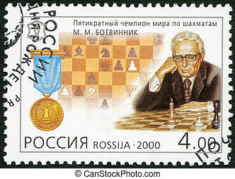 RUSSIA - CIRCA 2000: A stamp printed in Russia shows A fivefold chess champion M.M.Botvinnik (1911-1955), series National Sporting Milestones of the 20th Century in Russia, circa 2000