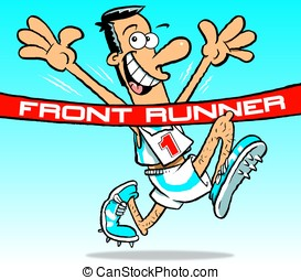 Front Runner. - Cartoon of race front runner athlete wearing...