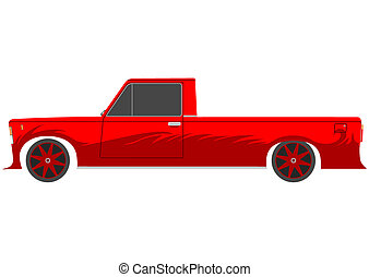 Lowrider - Red retro lowrider on a white background.