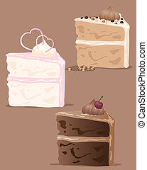cake slice - an illustration of a variety of cake slices in...