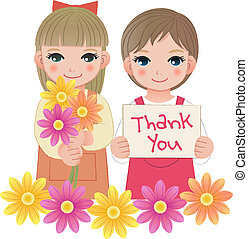 Little girls holding thank you sign - Young little girls...