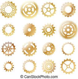 kugghjul, guld, gul,  set: