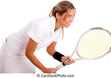 side view of tennis player going to play against white...