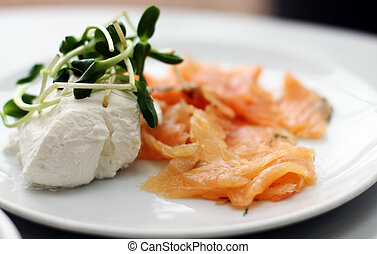 smoked salmon with white cheese