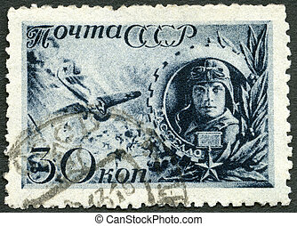 USSR - CIRCA 1942: A stamp printed in USSR shows the Captain...