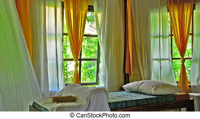 waving curtains at a Spa in Bali Indonesia