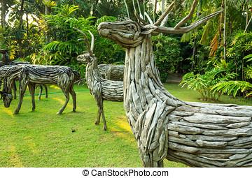 Wooden Deer Statue