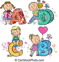 Funny alphabet with kids ABCD. Contains transparent objects....