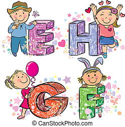 Funny alphabet with kids EFGH. Contains transparent objects....