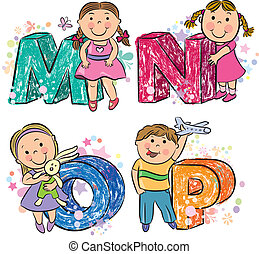 Funny alphabet with kids MNOP. Contains transparent objects....