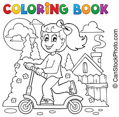 Coloring book kids play theme 2 - eps10 vector illustration.