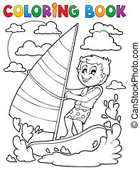Coloring book water sport theme 1 - eps10 vector...