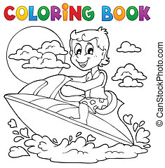 Coloring book water sport theme 2 - eps10 vector...
