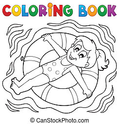Coloring book water sport theme 4 - eps10 vector...
