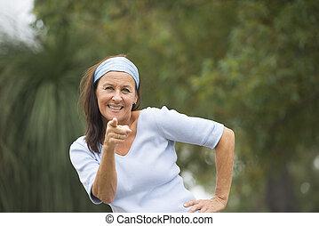 Confident mature woman positive outdoor - Portrait...