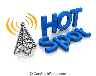 wireless antenna hotspot - 3d illustration of wireless...