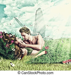 Loving fairy couple in a bed of grass - Fantasy romantic...