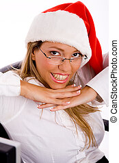 top view of smiling manager wearing christmas hat in an...