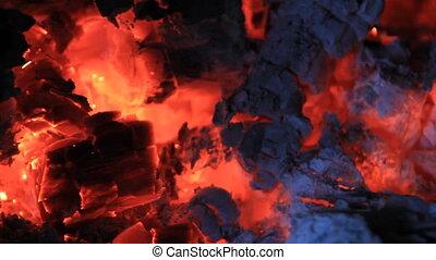 Hot coals red color light