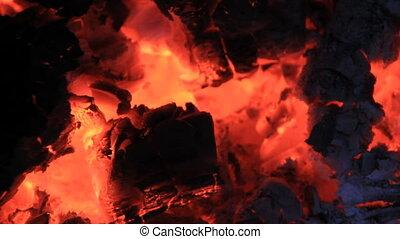 Burned coals - Red burned coals heat
