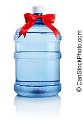 Big bottle of water tied with a red satin ribbon bow...