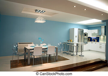 dinning room - interior of dinning room with cuisine part of...