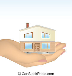 The house in hand. Vector