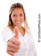 portrait of smiling manager showing thumb up with white...