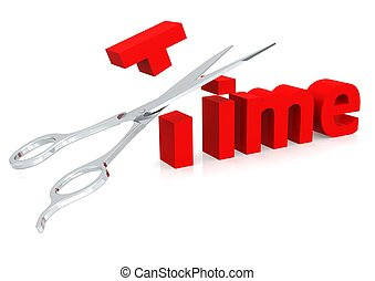 Scissor and time - Rendered artwork with white background