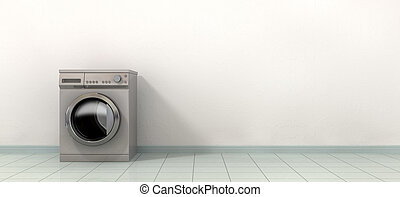 Washing MAching In An Empty Room - A front view of a regular...