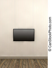 Tv Screen Mounted On Paper Wall - An old styled striped...