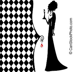 background fantasy of black lady - abstract white-black...