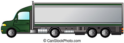 heavy truck with green cabin - isolated american heavy truck...