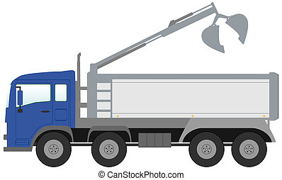 bucket truck with blue cabin - isolated modern bucket truck...