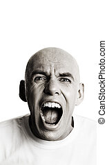 scream - special toned ,isolated on white background, focus...