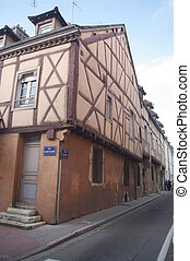 Timbered house or wood-framed house (expression more...