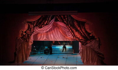 Stage curtain - Theater curtain hide stage with actors