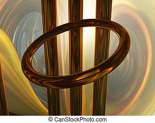 abstract metal installation - metal ring and bars - abstract...