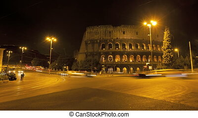Colosseum in Rome at night - Timelapse of Colosseum in Rome...
