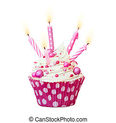 Pink birthday cupcake - Cupcake decorated with pink candles