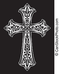 Antique Christian Cross Vector - vector illustration of...