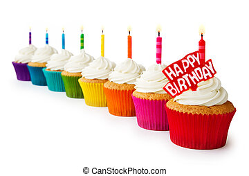 Birthday cupcakes - Row of colorful birthday cupcakes